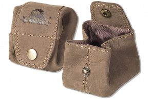 Woodland® Mini-Pocket for coins or small parts made of soft, natural buffalo leather in dark brown / taupe