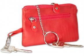 Rinaldo® Leder-Schlüsseltasche mit Schlüsselkette und Ring und zusätzlichem Außenring aus weichem, naturbelassenem Rindsleder in Rot