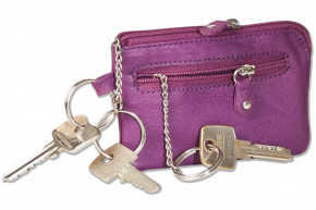 Rinaldo- Leather key case with key chain and ring and an additional outer ring made of soft, untreated cowhide in lilac