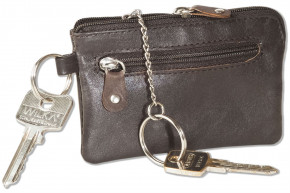 Rinaldo®- Leather key case with key chain, ring and an additional outer ring made of soft, untreated cowhide in dark-brown
