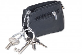 Rimbaldi® Key pocket in rectangular shape with key ring made of fine cow leather in black
