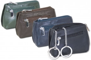 Rimbaldi® - Key pocket in rectangular shape with double key ring made of fine cow leather