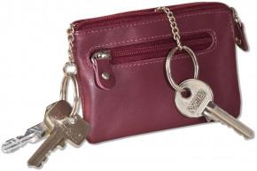 Rinaldo® Leder-Schlüsseltasche mit 2 Schlüsselketten und Extratasche aus Rind-Nappaleder in Weinrot