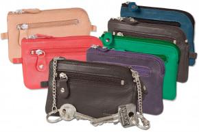 Rimbaldi® Leder-Schlüsseltasche mit 2 Schlüsselketten und Ring aus weichem, naturbelassenem Rindsleder in verschieden Farben/Gemischt