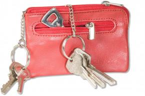 Rimbaldi® Leder-Schlüsseltasche mit 2 Schlüsselketten und Ring aus weichem, naturbelassenem Rindsleder in Rot