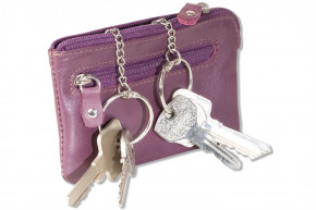 Rimbaldi® Leather key bag with 2 key chains and ring made of soft, untreated cow leather in aubergine