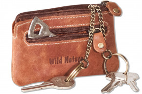 Wild Nature® - Leather key bag with 2 key chains made of soft, natural buffalo leather in brown