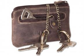 Wild Nature - Leder-Schlüsseltasche mit 2 Schlüsselketten aus weichem, naturbelassenem Büffelleder in Braun