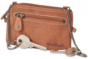 Woodland® - Leather key bag with 2 key chains made of soft, natural buffalo leather in cognac