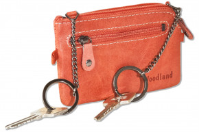 Woodland® Leather key bag with 2 key chains made of soft, untreated buffalo leather in red