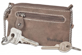 Woodland® Leather key bag with 2 key chains made of soft, untreated buffalo leather in dark-brown/taupe