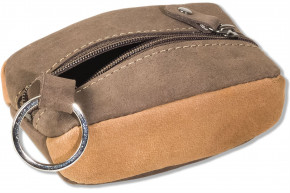 Woodland  leather key bag with 2 key chains made from soft, untreated buff leather in dark-brown/taupe