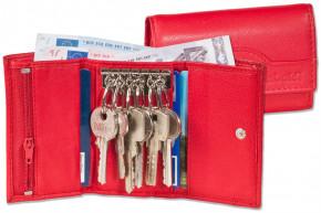 Rimbaldi® Schlüsseltasche mit 6 Schlüsselhaken und Geldbörse aus naturbelassenem Rindsleder in Rot