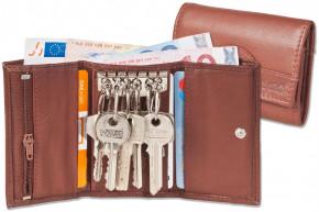 Rimbaldi® Schlüsseltasche mit 6 Schlüsselhaken und Geldbörse aus naturbelassenem Rindsleder in Dunkelbraun