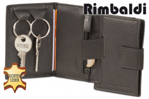 Rimbaldi® - key pocket with coin case and credit card pocket made of soft, untreated cow leather in black