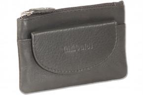 Rimbaldi® Doppel-Schlüsseltasche mit großem Extrafach aus weichem, naturbelassenem Rindsleder in Schwarz