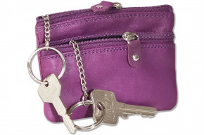 Rimbaldi® Doppel-Schlüsseltasche mit großem Extrafach für den Autoschlüssel aus naturbelassenem Rindsleder in Lila