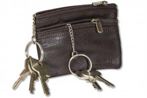 Rimbaldi® Doppel-Schlüsseltasche mit großem Extrafach für den Autoschlüssel aus weichem, naturbelassenem Rindsleder in Dunkelbraun