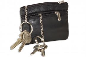 Rinaldo® Doppel-Schlüsseltasche mit großem Extrafach für den Autoschlüssel aus weichem Rind-Nappaleder in Schwarz