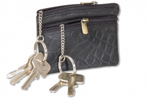 Rimbaldi® Double-key bag with large extra pocket for the car keys, made of cowhide in black with croco design