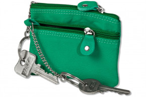 Rimbaldi - Doppel-Schlüsseltasche mit großem Extrafach für den Autoschlüssel aus naturbelassenem Kalbsleder in Jade-Grün
