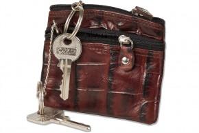 Rimbaldi - Doppel-Schlüsseltasche mit großem Extrafach für den Autoschlüssel aus Rinderleder in Braun/Multiton im Krokodesign