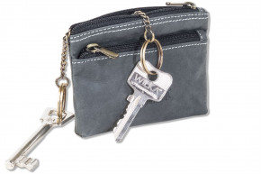 Woodland® Double-key bag with large extra pocket for car keys made from soft, untreated buffallo leather in anthracite