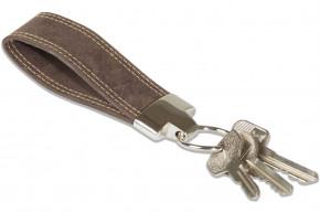 Wild Nature® Schlüssel-Handschlaufe aus naturbelassenem Büffelleder in Dunkelbraun/Vintage