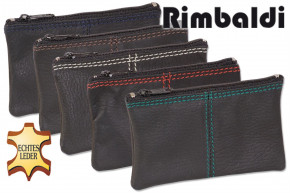 Rimbaldi®- Coin purse with double seams made of soft cowhide in black and stitching in various colors