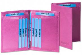Rimbaldi® Ausweis-/Kreditkartenetui mit Protecto® RFID-Blocker für 6 Kreditkarten und 4 Ausweise aus weichem, naturbelassenem Rindsleder in Aubergine