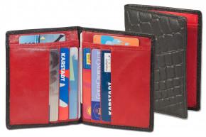 Rimbaldi® Ausweis-/Kreditkartenetui für 6 Kreditkarten und 4 Ausweise aus weichem, naturbelassenem Rindsleder innen Rot - außen Kroko-Schwarz