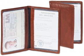 Woodstone® Lederetui für den alten Personalausweis und den KFZ-Schein aus OIL PULL-UP Büffelleder in Cognac