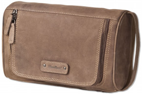 Woodland® Large Toiletry Bag made of soft, natural buffalo leather in dark brown / taupe