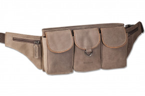 Woodland® Large belt bag with plenty of space made of soft, untreated buffalo leather in dark-brown/ taupe