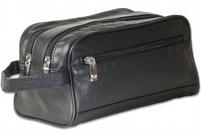 Rimbaldi® Double-chamber wash bag with ample space made of high quality soft cow nappa leather in black