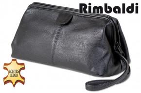 Rimbaldi® Kulturtasche aus weichem, hochwertigem Rind-Nappaleder in Schwarz
