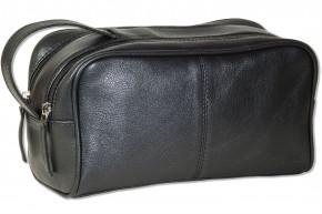 Rimbaldi® Kulturtasche mit 2 großen Reißverschlussfächern aus weichem Rind-Nappaleder in Schwarz