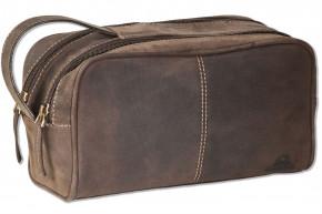 Woodlland® Kulturtasche mit 2 großen Reißverschlussfächern aus weichem, naturbelassenem Büffelleder in Dunkelbraun/Taupe