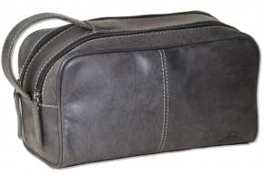 Woodland® Kulturtasche mit 2 großen Reißverschlussfächern aus weichem, naturbelassenem Büffelleder in Anthrazit