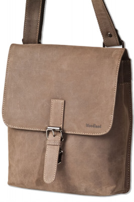 Woodland® Luxury shoulder bag made of natural buffalo leather in dark brown/ taupe