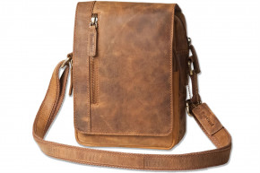 Woodland® - luxury shoulder bag made of natural buffalo leather in vintage-look / Cognac