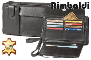 Rimbaldi® Handgelenk- und Schultertasche für die Reise und unterwegs mit großem Smartphonefach aus weichem, hochwertigem Rind-Nappaleder in Schwarz