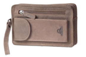 Woodland® Handgelenktasche für Männer aus naturbelassenem Büffelleder in Dunkelbraun/Taupe