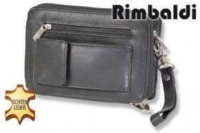 Rimbaldi® Luxus-Handgelenktasche aus feinstem, hochwertigem Rind-Nappaleder in Schwarz