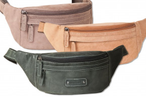 Woodland® Large belly pocket with plenty of space made of soft, untreated buffalo leather in cognac