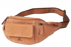 Woodland® Large belt bag with plenty of space made of soft, untreated buffalo leather in cognac