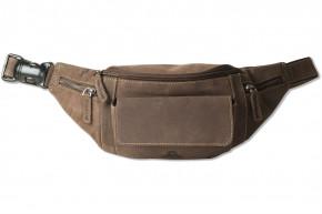 Woodland® Große Bauchtasche mit viel Platz aus weichem, naturbelassenem Büffelleder in Dunkelbraun/Taupe