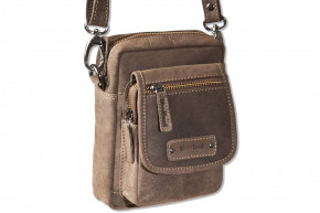 Woodland® Shoulder bag made of natural buffalo leather in dark brown / taupe