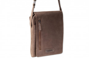 Woodland® Luxury shoulder bag made of natural, soft buffalo leather in dark-brown/taupe