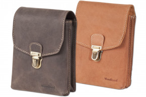 Woodland® - Belt bag with buckle, made from soft natural buffalo leather in cognac